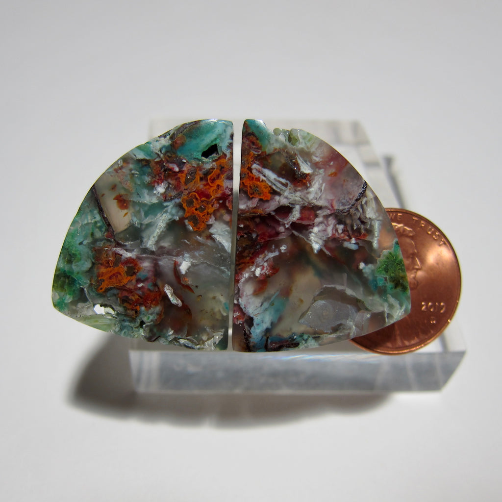 Blue Opal with Native Copper Pair V 363