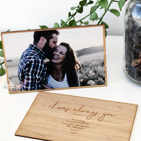 Arlo & Co Valentines Day Collection - Bamboo Photo Cards personalised with your photo on the front and your message on the back