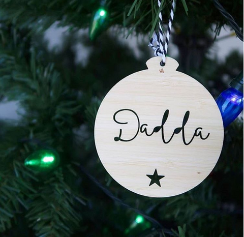 PERSONALISED SCRIPT FONT ORNAMENT - bamboo - perfect as a natural touch on any Christmas tree.