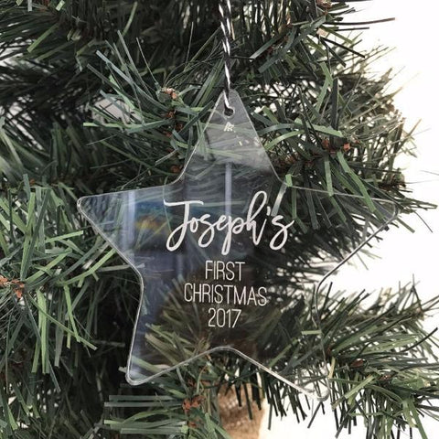 'FIRST CHRISTMAS' STAR ORNAMENT - clear acrylic - a unique keepsake for your little one's first Christmas.
