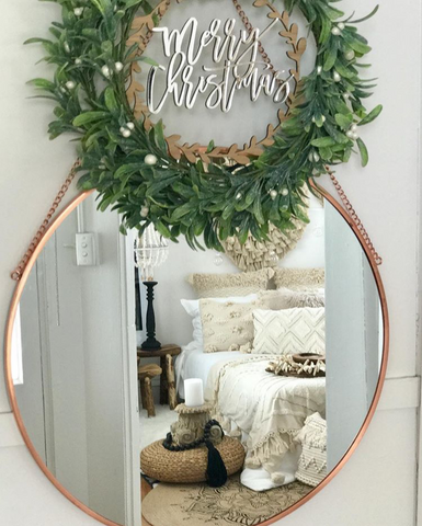 Arlo & Co Merry Christmas Wreath in Gold Mirror