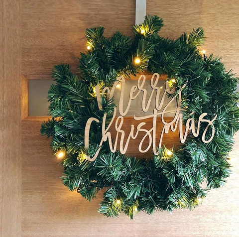 Arlo & Co Merry Christmas Decoration in natural bamboo