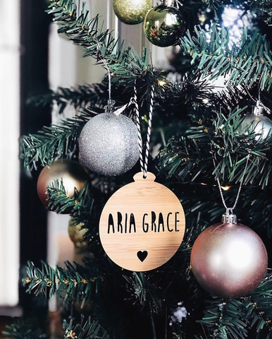 Arlo & Co Personalised Christmas Ornament in natural bamboo