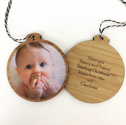 BAMBOO PHOTO ORNAMENT - get a photo of your loved one printed on our natural bamboo ornament (great for sending to grandparents who don't live close).