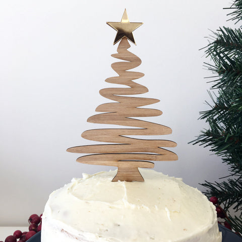 CHRISTMAS TREE CAKE TOPPER - bamboo and gold mirror Christmas tree cake topper for all your festive occasions