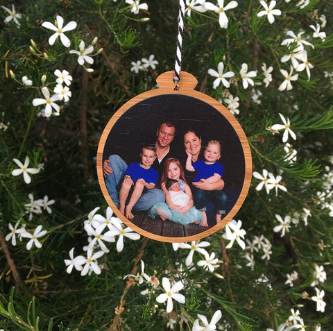Arlo & Co personalised bamboo photo Christmas ornaments