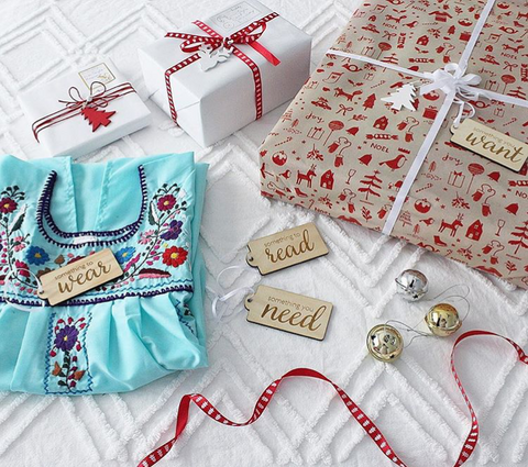 Arlo & Co simplicity gift tags for Christmas - something you want, something you need, something to wear, something to read