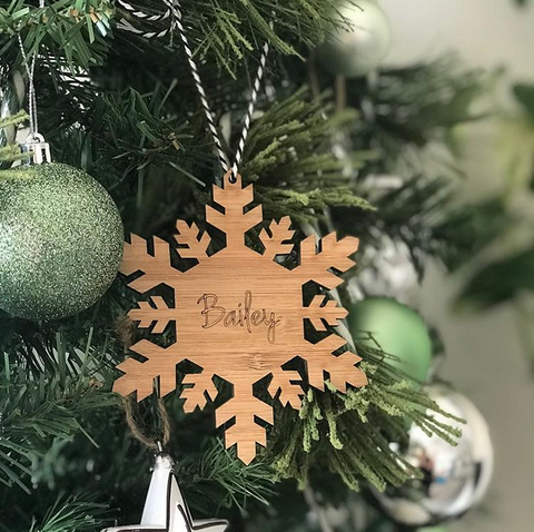 Arlo & Co Personalised Bamboo Snowflake Christmas Ornament
