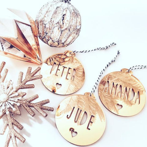 PERSONALISED CHRISTMAS ORNAMENT - mirror - great for the Christmas tree. Comes in gold or silver mirror.