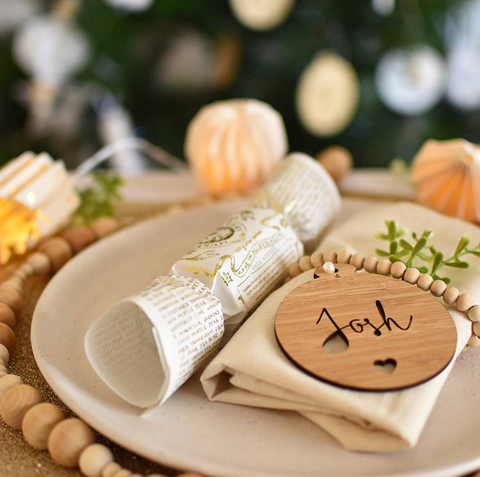 Arlo & Co personalised Christmas ornaments used for Christmas place setting