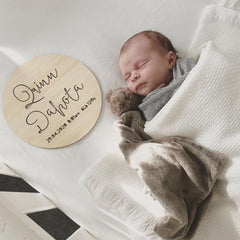 Birth Details Plaque In Blonde - Arlo & Co