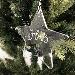 'First Christmas' Star Ornament - Clear Acrylic - Arlo & Co