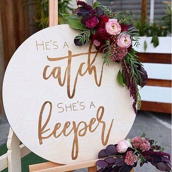 'He'S A Catch, She'S A Keeper' Etched Sign
