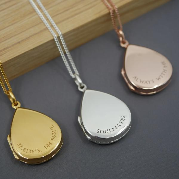 Personalised Droplet Locket Necklace