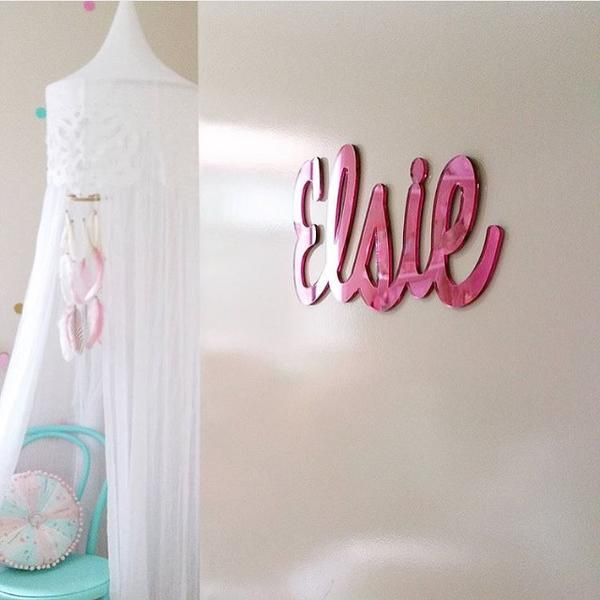 Pink Mirror Name Plaque - 4 Fonts, 3 Sizes