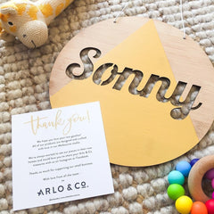 Round Customised Name Plaque - Arlo and Co