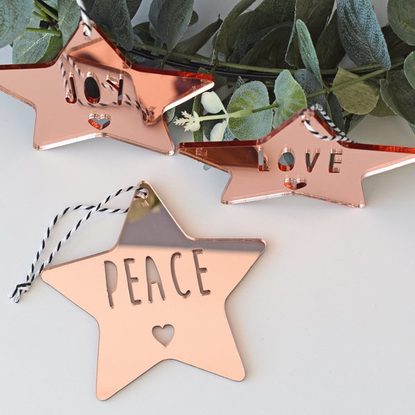 Star Ornament Set - (Joy, Peace, Love)