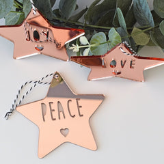 Star Ornament Set - (Joy, Peace, Love) - Arlo and Co