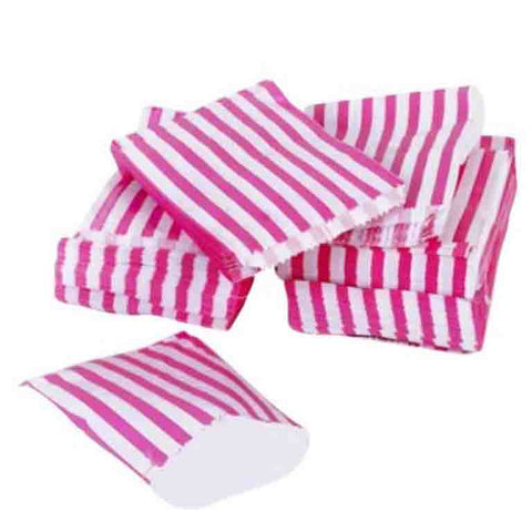 Hot pink candy stripe paper bag
