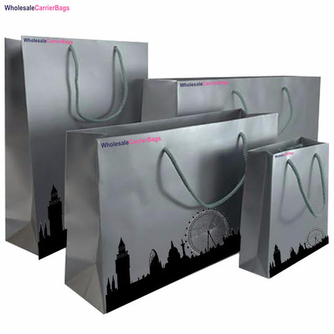 london skyline bespoke design on matt laminated boutique gift bags