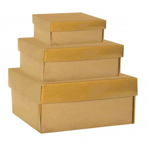 Gold Rectangle Gloss Laminated Gift Boxes - 2 Pieces