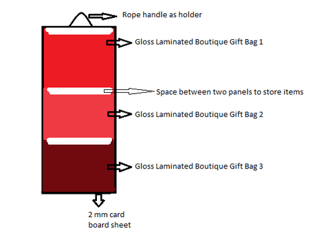 Layout for wall organiser made from gloss laminated shopping bags
