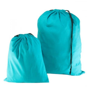 Aqua Blue Natural Cotton Drawstring Bags