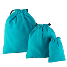 Aqua Blue Natural Cotton Drawstring Pouch Bags