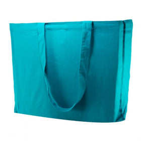 Aqua Blue Natural Cotton Gusset Bags