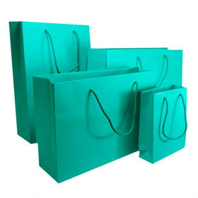 Aqua Green Matt Laminated Carrier Bag Rope Handle