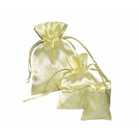 Beige Color Satin Drawstring Pouch Bag