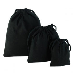 Black Natural Cotton Drawstring Pouch Bags
