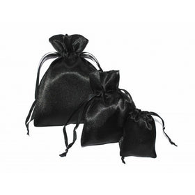 Black Satin Drawstring Pouch Bag