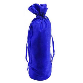 Blue Dupion Silk Wine Drawstring Pouch Bags