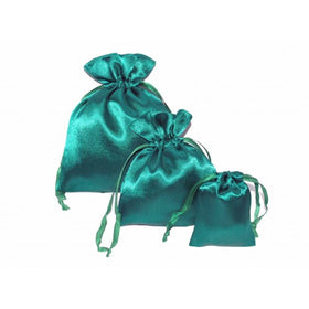 Bottle Green Satin Drawstring Pouch Bag