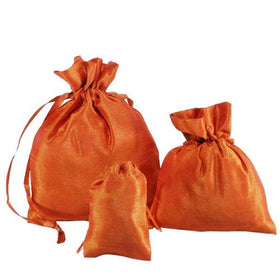 Burnt Orange Dupion Silk Drawstring Pouch Bags