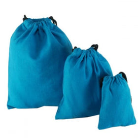 Dark Blue Natural Cotton Drawstring Pouch Bags
