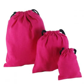 Fuchsia Natural Cotton Drawstring Pouch Bags