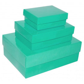 Aqua Green Rectangle Gloss Laminated Gift Boxes - 2 Pieces