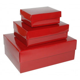 Burgundy Rectangle Gloss Laminated Gift Boxes - 2 Pieces