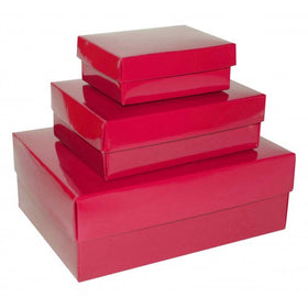 Hot Pink Rectangle Gloss Laminated Gift Boxes - 2 Pieces