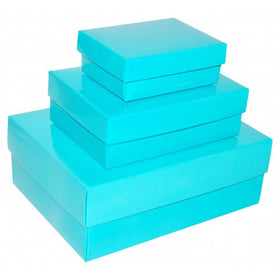 Turquoise Blue Rectangle Gloss Laminated Gift Boxes - 2 Pieces