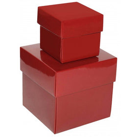 Burgundy Square Gloss Laminated Gift Boxes - 2 Pieces