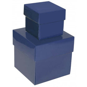 Indigo Blue Square Gloss Laminated Gift Boxes - 2 Pieces
