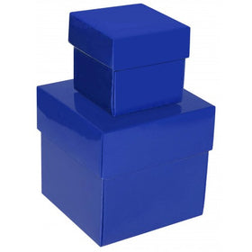 Royal Blue Square Gloss Laminated Gift Boxes - 2 Pieces