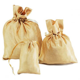 Gold Dupion Silk Drawstring Pouch Bags