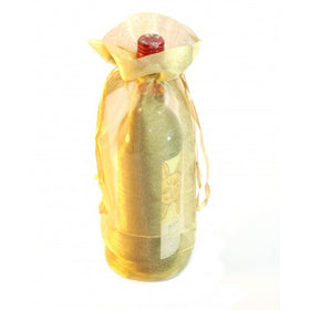Gold Organza Wine Drawstring Pouch Bags