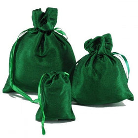 Green Dupion Silk Drawstring Pouch Bags