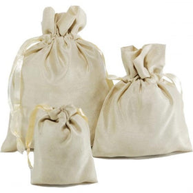 Ivory Dupion Silk Drawstring Pouch Bags