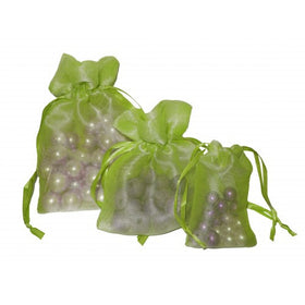 Light Green Organza Drawstring Pouch Bags